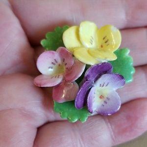 ENGLISH PORCELAIN Flowers pin VINTAGE